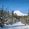 The trails around the lake offer excellent views of Mount Hood (11,250').- Teacup Lake Sno-Park