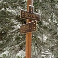 The Crosstown Trail is easily abbreviated with a shuttle set at the Thunderhead Sno-Park.- Crosstown Ski + Snowshoe Trail