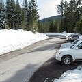 Parking for the Government Camp trails is at the Glacier View Sno-Park.- Glacier View Ski + Snowshoe Loop Trail