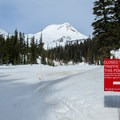 Mount Hood Meadows establishes a limit for uphill travel where lift service begins.- Heather Canyon Ski + Snowshoe Trail