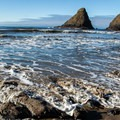 View of Parrot Rock, named for the lively sea bird culture the rock attracts.- Heceta Head Lighthouse
