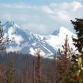 Looking south at the North Sister (10,085') and the Middle Sister (10,047') from Santiam Pass.- Three Sisters Wilderness