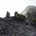 View looking up Broken Top's northeastern ridge.- Three Sisters Wilderness