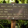 Destination distances along the Brice Creek Trail.- Brice Creek Trail, West Trailhead to Lund Campground Hike