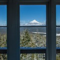 Mount Hood through the north window.- Clear Lake Butte Lookout