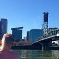 View to Downtown Portland.- Willamette River: George Rogers Park to Cathedral Park