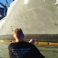 Approaching a naval ship along the route.- Willamette River: George Rogers Park to Cathedral Park