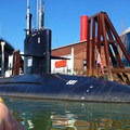 Approaching the Submarine at OMSI.- Willamette River: George Rogers Park to Cathedral Park