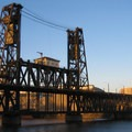 Approaching the Steel Bridge.- Willamette River: George Rogers Park to Cathedral Park