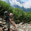 Hiking to base camp.- Forbidden Peak: West Ridge