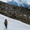 Reaching the snow fields.- Forbidden Peak: West Ridge