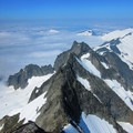 View west over the West Ridge route.- Forbidden Peak: West Ridge