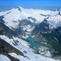 View to Moraine Lake and Eldorado Peak (8,868') from the West Ridge.- Forbidden Peak: West Ridge