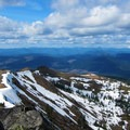 View over the trail to Mount St. Helens (8,366').- Silver Star Mountain via Ed's Trail + Silver Star Trail