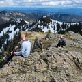 Enjoying the cliff-side view with a cloud-covered Mount Hood (11,250') in the background.- Silver Star Mountain via Ed's Trail + Silver Star Trail