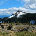 View south to the summit with a wind-sheltered camp in the foreground.- Silver Star Mountain via Ed's Trail + Silver Star Trail