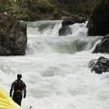Gazing upstream at the final sequence of waterfalls and rapids on the run. - Canyon Creek