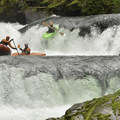 Kayakers and rafters love the double waterfalls, Champagne and Hammering Spot.- Canyon Creek