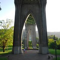 The gothic arches of the St. Johns Bridge- Cathedral Park