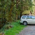 Parking at the Champion Creek Trailhead.- Brice Creek Trail, Champion Creek Trailhead to Lund Campground Hike