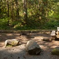Campsite beside the access road.- Lund Park Campground