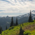 Mount Rainier (14,409') from Tipsoo Lake and Naches Trail Loop.- Dewey + Anderson Lakes
