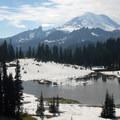 Mount Rainier (14,409') and Tipsoo Lake.- Dewey + Anderson Lakes
