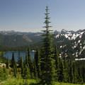 View looking south toward Dewey Lake from the Dewey Lake junction along the PCT.- Tipsoo Lake + Naches Peak Loop Trail
