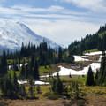 View looking west toward Mount Rainier (14,409') and the giant Emmons Glacier.- Tipsoo Lake + Naches Peak Loop Trail