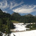 View north toward Tipsoo Lake and Yakima Peak (6,226').- Tipsoo Lake + Naches Peak Loop Trail