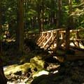 Bridge crossing the below-grade stream of Lena Creek.- Lena Lake Hike