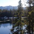 View looking south across Lena Lake.- Lena Lake Hike