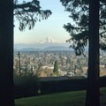 Looking at Mount Hood from the east side of Mount Tabor.- Mount Tabor