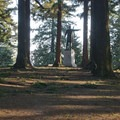 The Harvey W. Scott statue at the top of Mount Tabor.- Mount Tabor