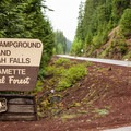 The entrance to Ice Cap Campground is shared with Koosah Falls.- Ice Cap Campground