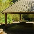 Marquam shelter at the trailhead.- Marquam Nature Park + Trail