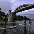 Passing under the Oregon City Bridge, built in 1922.- Willamette Falls Canoe/Kayak