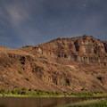 A canyon wall by moonlight.- John Day River: Clarno to Cottonwood Bridge