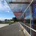 Seattle Cloud Cover, by artist Teresita Fernandez, which forms part of the pedestrian bridge.- Olympic Sculpture Park