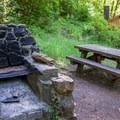 Modest group facilities are near the Eagle Creek Trailhead down the raod from the campground.- Eagle Creek Campground