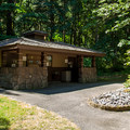The restrooms at Wyeth Campground.- Wyeth Campground
