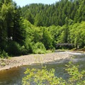 View toward Tillamook Forest Center across the Wilson River.- Jones Creek Campground