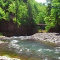 View of the Wilson River looking toward the Wilson River Trail footbridge.- Wilson River, Footbridge Day Use Area