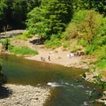 View of the Wilson River and the beach from Highway 6.- Wilson River, Footbridge Day Use Area