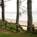 View looking toward Arcadia Beach from the parking area.- Arcadia Beach State Recreation Site