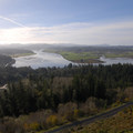 View south overlooking Youngs River and Netul River with Saddle Mountain at left.- Astoria Column
