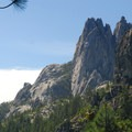 View of Castle Crags from the trail.- Castle Crags Dome Hike