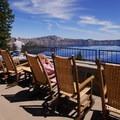 Back terrace overlooking Crater Lake.- Crater Lake Lodge