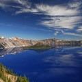 View of Crater Lake from the lodge.- Crater Lake Lodge