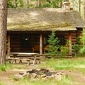Cabin along the west side of the Metolius River.- Metolius River Trail